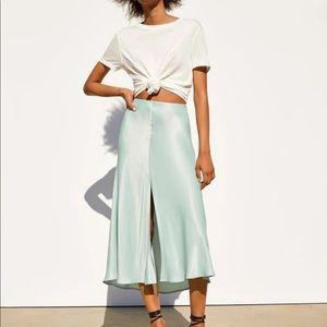 Zara silky blue midi skirt